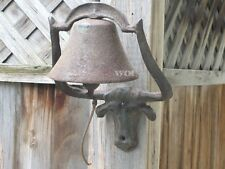 Metal Cattle Bull Skull Animal Mounted Cow Dinner Bell Wall Post Mount Western