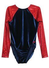 Gk Elite Navy Velvet Hologram Gymnastics Leotard - Axs Adult Extra Small 4071