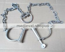 Antique Iron Leg Shackles Chain Working Padlock Collector Collectable Cuffs