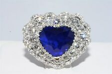 """$60,000 7.65CT AGL CERTIFIED NATURAL SAPPHIRE & DIAMOND HEART RING """"GREAT COLOR"""""""