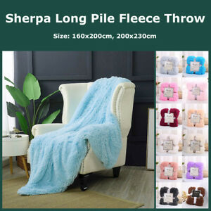 Long Pile Plush Sherpa Throw Blanket Super Soft Faux Fur Warm Shaggy Reversible