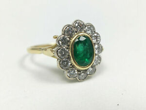 Natural Emerald and Diamond Ring in 14k Yellow Gold SKU-01