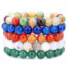 10mm Stone Bracelets Beaded Stretch Handmade Elastic Stackable Set of 5