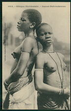 Africa Dahome Tattoo girls black nude woman original c1910-1920s postcard qc52