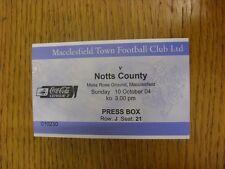 10/10/2004 BIGLIETTO: MACCLESFIELD Town V Notts County [PRESS Box]. bobfrankandelv
