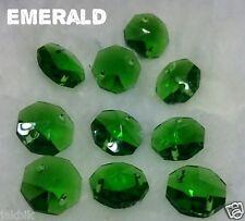 70 Crystal Octagon 14 MM 2 holes Emerald JCE11