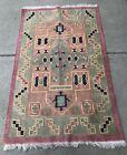 Vintage Tribal Kilim Wool/Cotton Rug 59 x 36 Pink Green Blue Fringe