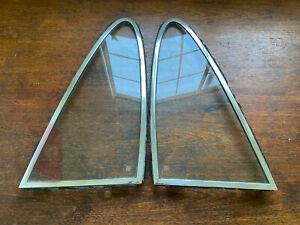 Porsche 911 912 Quarter Window Pair w/ CHROME FRAMES Pop-Out CLEAR SEKURIT Glass