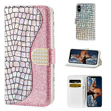 For iPhone 11 Pro XS Max XR 6s 7 8+ Plus Case Bling Leather Wallet Flip Cover