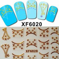 Nails 3D Stickers Zip Gold Decal Transfer Shiny Metallic Jewellery Logo XF6020