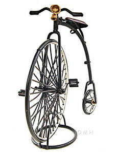 """1870 High Wheeler Penny Farthing Bicycle Metal Desk Model 9.5"""" Cycling Decor New"""