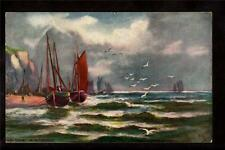 Tuck fishing boats Devon Coast Torouay Uk postcard