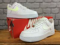 NIKE LADIES UK 4.5 EU 38 AIR FORCE 1 07 BARELY VOLT WHITE LEATHER TRAINERS T