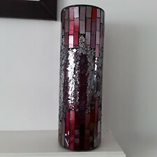 Red Mosaic Crackle Glass Vase Mirror Art Decorative Flowers Table Deco Modern
