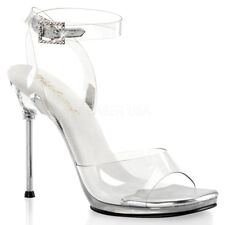 "CHIC-06 4 1/2""  FITNESS PAGEANT CLEAR ANKLE STRAP METAL  HEEL DRESSY SANDAL"