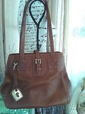 GREAT PREOWNED: DOONEY & BOURKE PEBBLE LEATHER BROWN; DOUBLE STRAP; KEY FOB