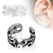 Leaves Design Rhodium Plated Brass Non Piercing Cartilage Ear Cuff Ring
