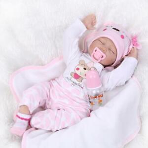 22'' Reborn Baby Dolls Handmade Silicone Lifelike Vinyl Dolls Girl Xmas Gift