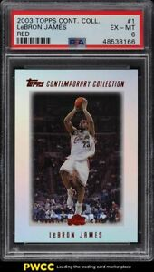 2003 Topps Contemporary Collection Red LeBron James ROOKIE RC /225 #1 PSA 6 EXMT