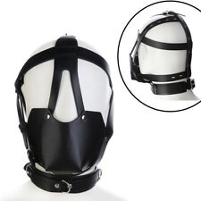 BDSM Fetish Male Bondage Mask Leather Full Head Harness Hood Gag Husband/Couples