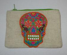 Sugar Skull Coin Purse Day of the Dead Green Zipper Embroidered Orange New