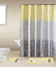 SHOWER CURTAIN MATCHING COVERED FABRIC HOOKS BATHROOM SET 13PC SONIA