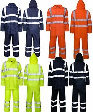 Mens Rainsuit Hi Viz Waterproof Storm Jacket Trouser Set Workwear Security S 5XL