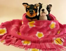 Pink Yellow Flowers, Fuzee Fleece Dog Blankets, Soft Pet Blanket Travel Throw