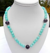 """PJC STERLING TURQUOISE AND AMETHYST BEAD NECKLACE MAGNETIC CLOSURE 24"""""""