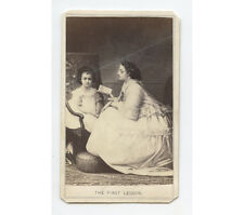 CDV MOTHER READING TO DAUGHTER SEATED IN CHAIR