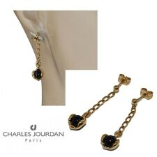 Charles Jourdan Earrings Gold Plated 18 Carat Characters Onyx Jewel