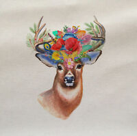 Deer Stag Flowers Animal Wilflife Fabric Panel Cushion Upholstery Craft