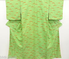 小紋 着物 Komon Kimono en soie - Vert floral - Made in Japan 1344