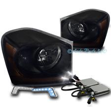 04-05 DODGE DURANGO CRYSTAL HEADLIGHT LAMP BLACK/SMOKE W/BLUE DRL LED SIGNAL+HID