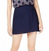 Maison Jules Womens Eyelet Skirt Navy Blue Size 4 Layered Mini A-Line $59 105