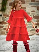 hanna andersson Red Velour Cotton - Love To Twirl Girls Dress Sz.140