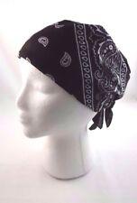 Classic black bandana biker scarf head wrap headband paisley