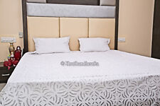 Applique Cut Work Bed Cover Indian Hand Stitched Organza Blanket Throw King Size
