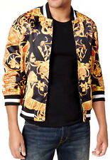 New Hypnotize Men's Full Zip Golden Graphic Print Satin Bomber Jacket XL