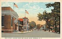 CORNWALL NY~MAIN STREET-BANK-FIRE ENGINE HOUSE~1931 J RUBEN PUBL  POSTCARD