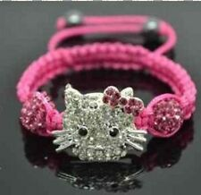 Lovely Cat Girl Childen kids Shamballa Bracelet Jewellery Chiristmas gifts AA901