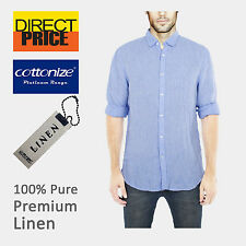 Mens 100% Pure Linen Shirts Luxury Casual Light Blue Comfy Soft Premium Fashion
