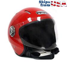 MMG Motorcycle Scooter Open Face Helmet PILOT Flip Up Visor DOT (L, Shiny Red)