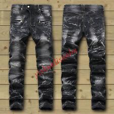 MEN'S CHIC SLIM FIT JEAN PANTS PUNK SMART DENIM TROUSERS MOTOR BIKER PANTS 28-42