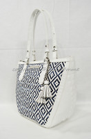 NWT Brahmin Small Willa Tote/Shoulder Bag in Denim Royal Palm. White and Blue