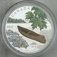 2017 $20 Canoe to Tranquil Times, 1 oz. Pure Silver Color Proof Coin, Wood Canoe