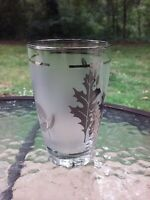 Vtg Libbey Glass Frosted Silver Foliage Leaf 8 Oz Drink Glass Tumbler Barware