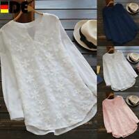DE Plus Size Damen Damen Spitze V-Ausschnitt Langarm Casual T-Shirt Tops Bluse