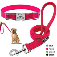 Reflective Personalised Dog Collar and Leash Custom Pet ID Name Tag Engraved M L