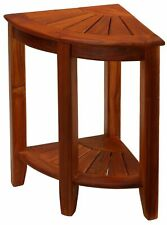 "Bare Decor Elana Tall Corner Spa Shower Stool in Solid Teak Wood, 24""H"